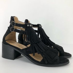 Coconuts by Matisse 8 Fringe Booties Sandals Black